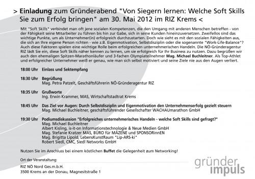 Einladung Gründerabend Mai 2012